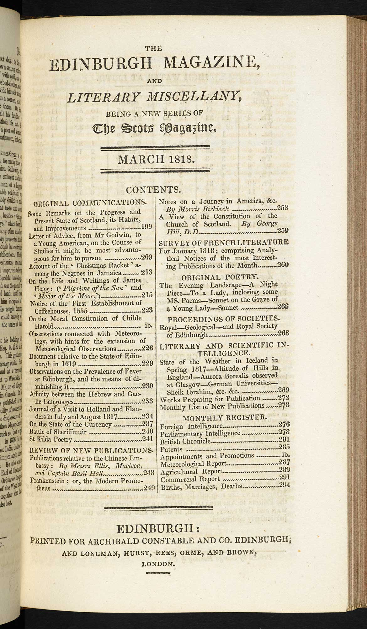 Walter Scott's review of Frankenstein from the Edinburgh Magazine [page: vol. 81 p. 197]