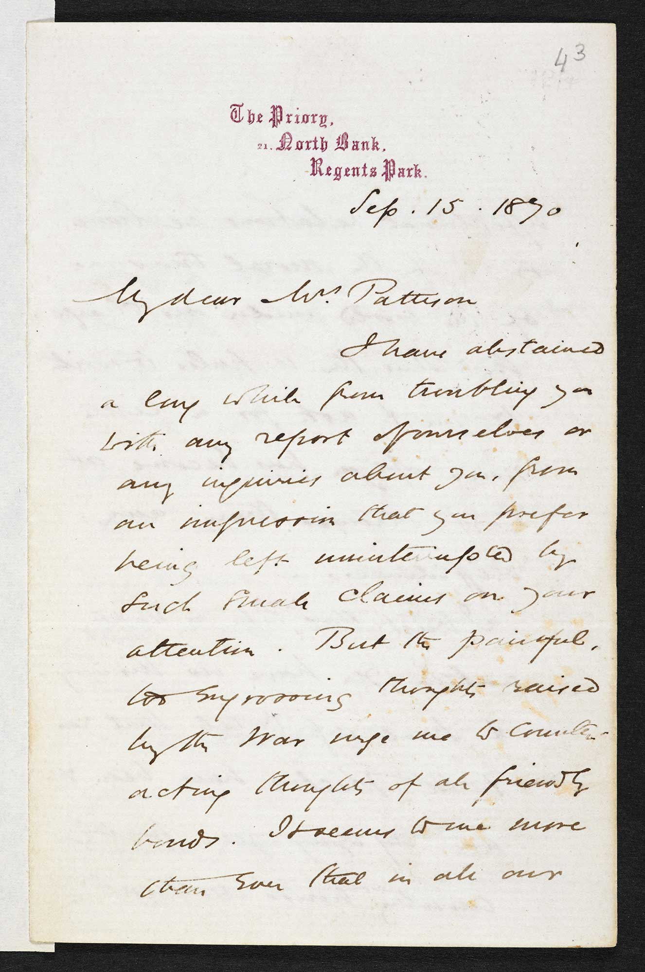 Letter from George Eliot to Emilia Francis Pattison, 15 September 1870