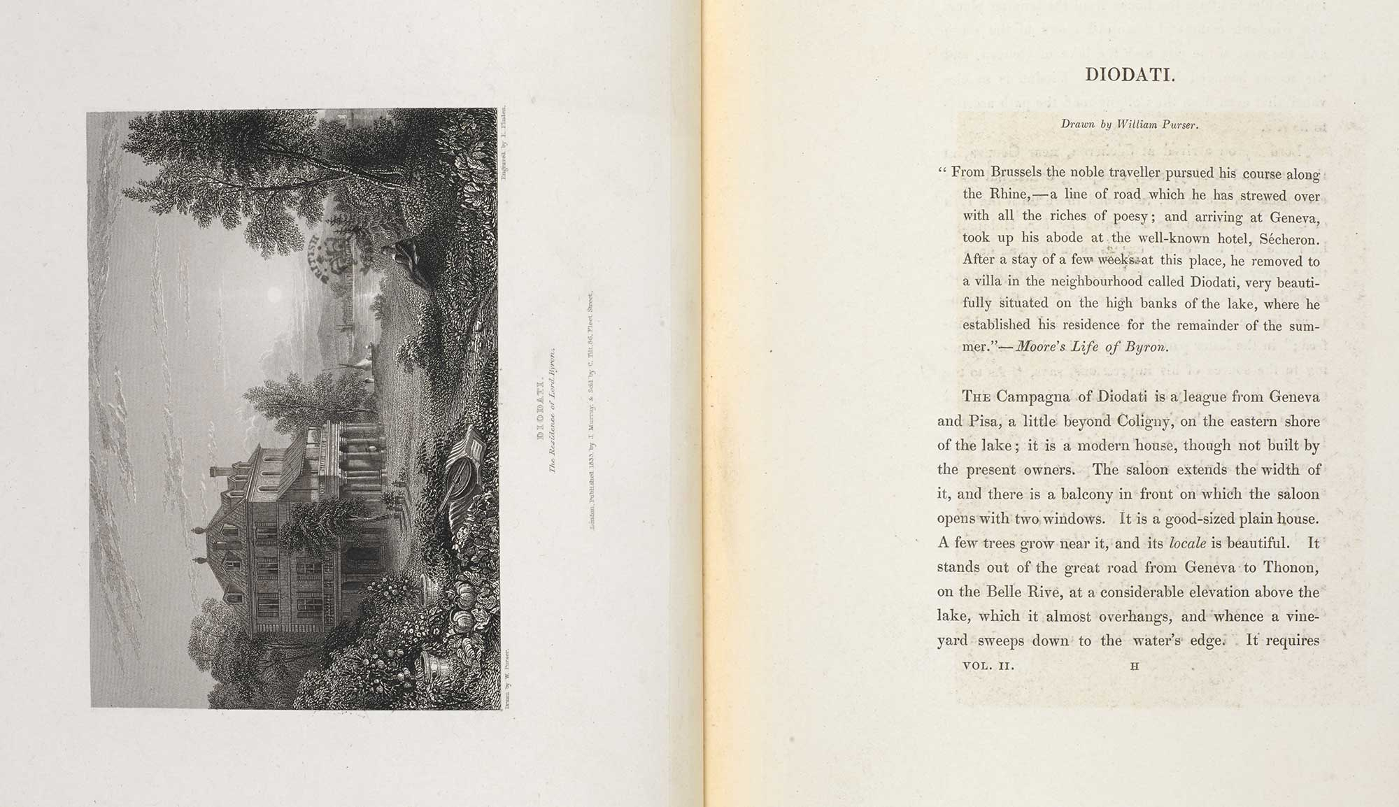 Finden's Illustrations of the Life and Works of Lord Byron [page: Vol 2 – unpaginated, section on Diodati including engraving]