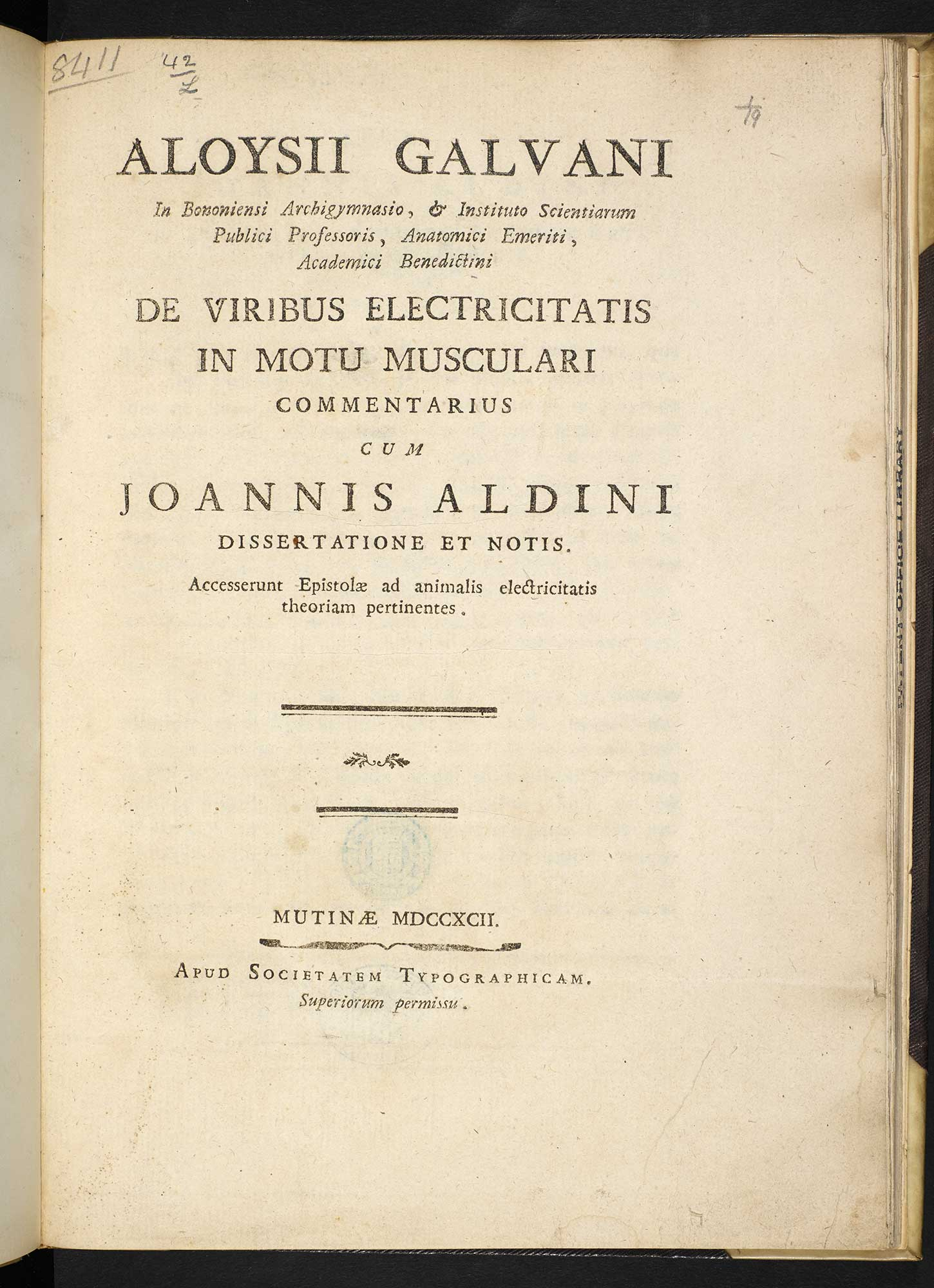 Galvani, The Effects of Artificial Electricity on Muscular Motion [page: title page]