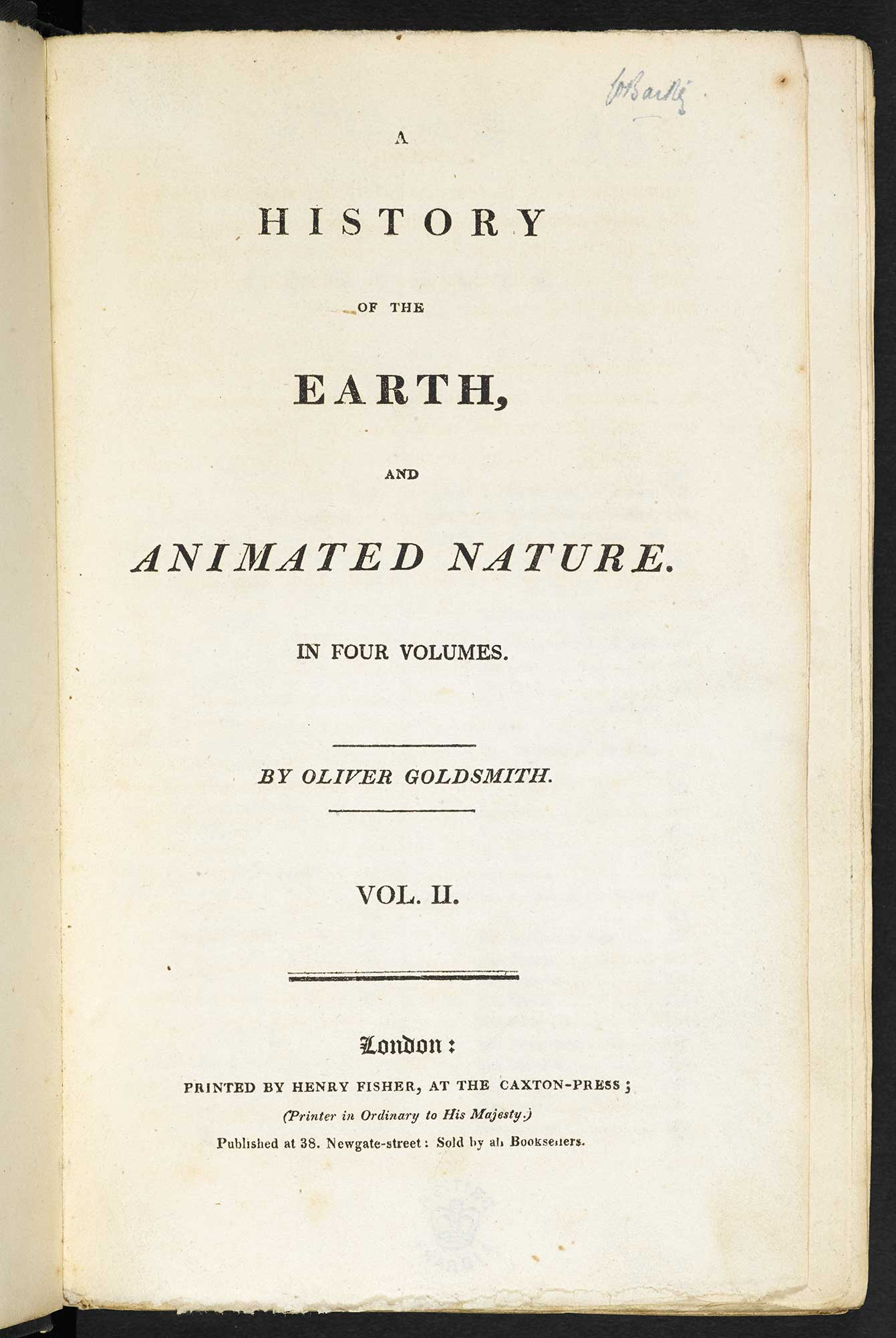 A History of the Earth, and Animated Nature [page: vol. II title page]