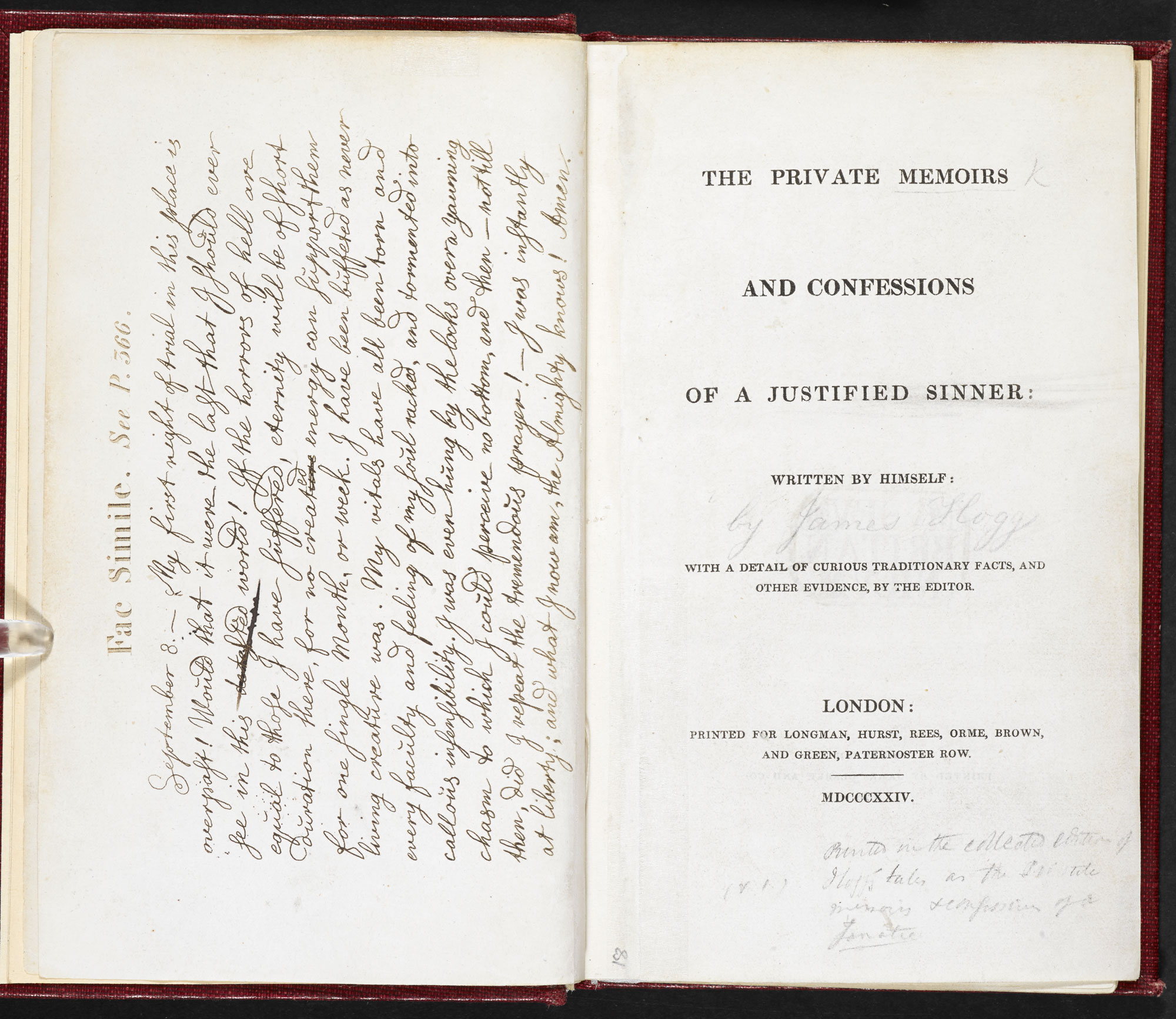 James Hogg, The Private Memoirs and Confessions of a Justified Sinner [page: frontispiece and title page]