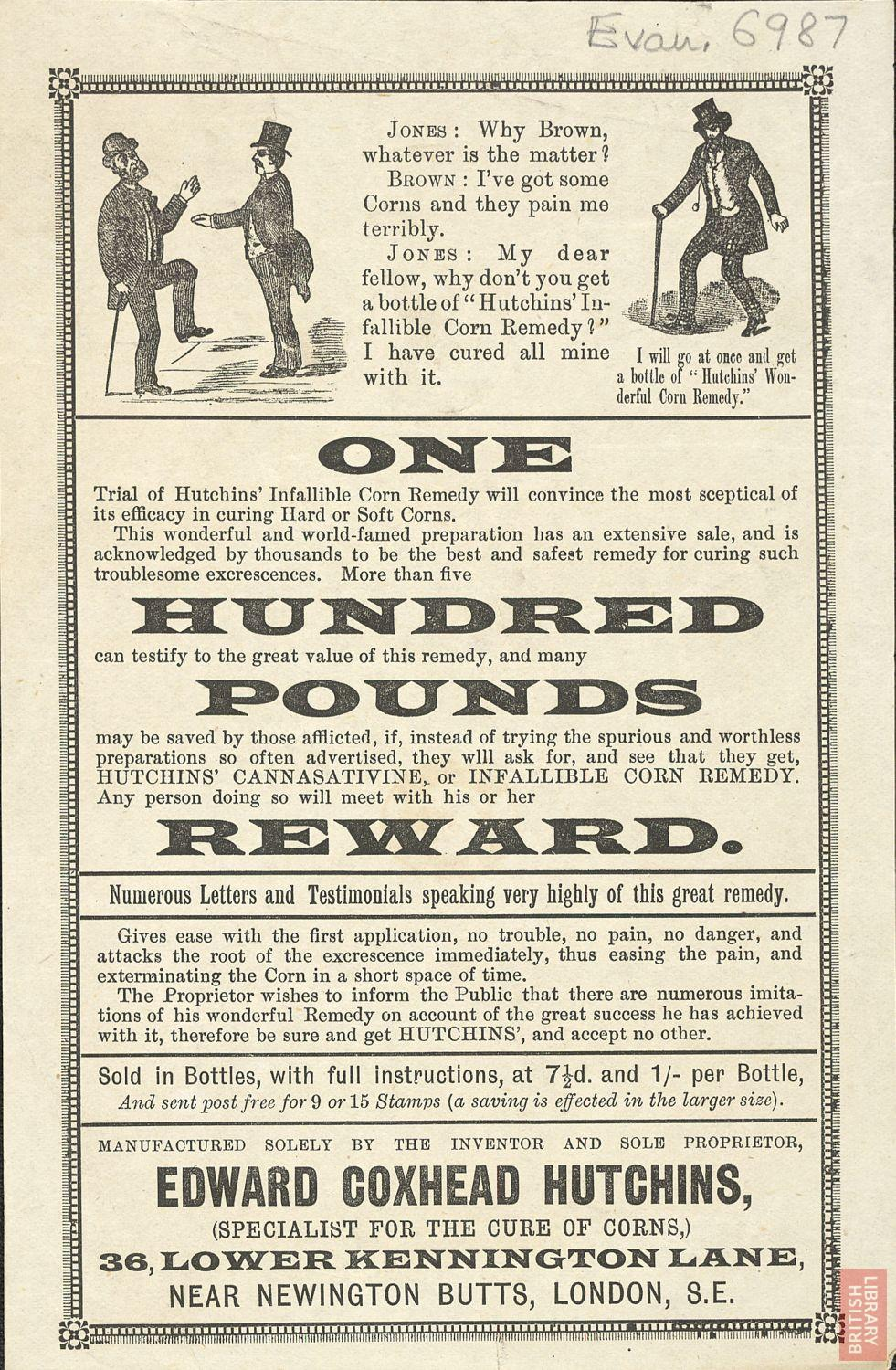 Advertisement for Hutchins Infallible Corn Remedy