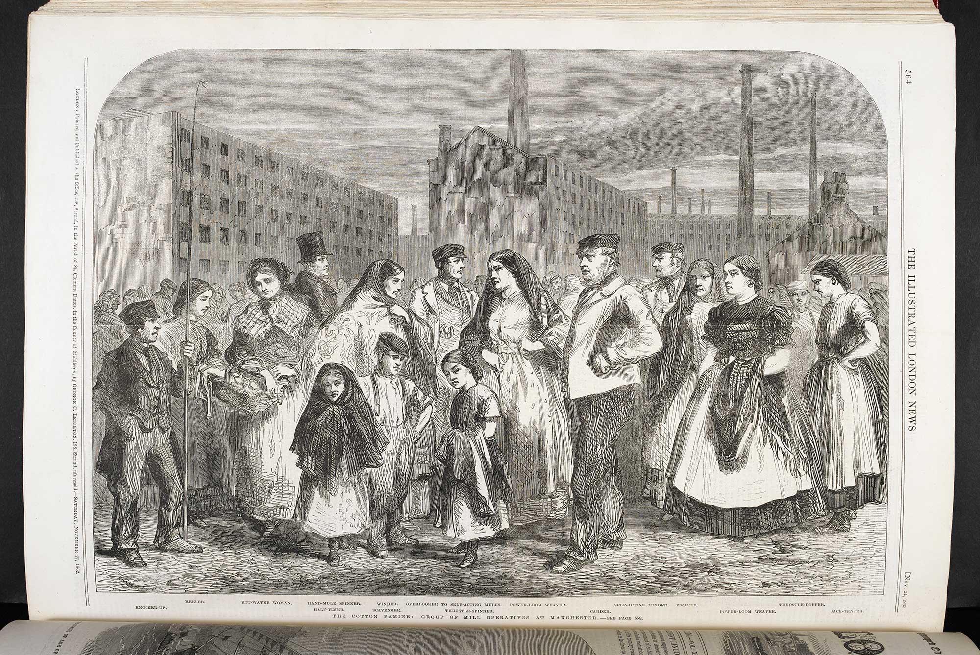 The cotton famine - group of mill operatives at Manchester' from the Illustrated London News [page: vol. 41 p. 564]