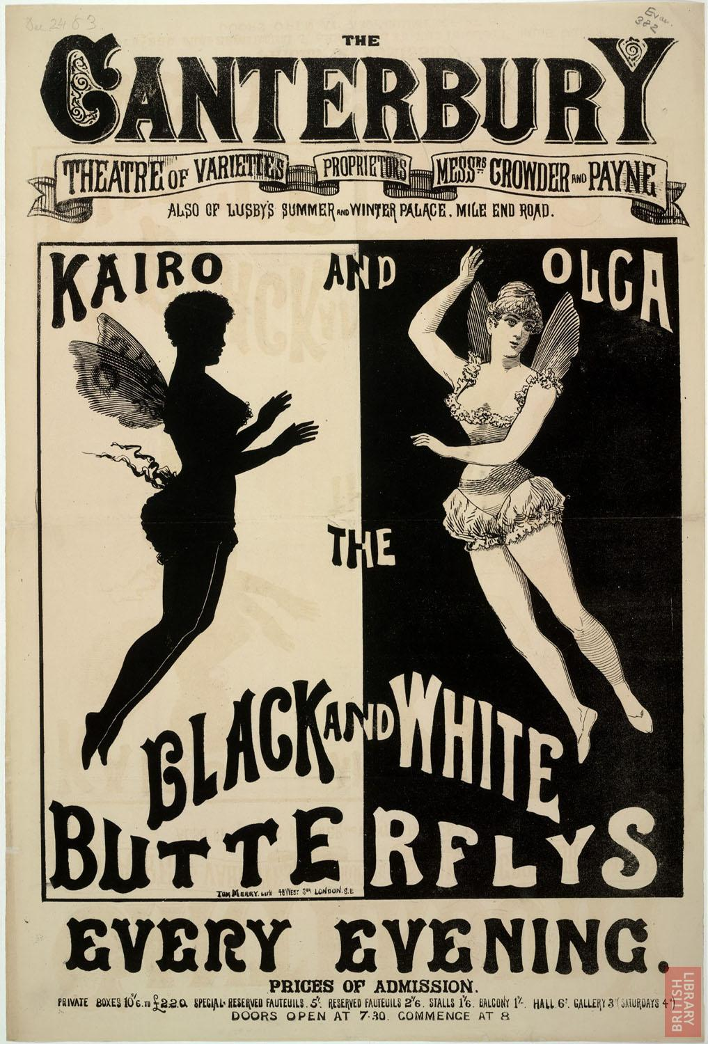 Poster advertising Kairo and Olga, the black and white butterflys, at the Canterbury Theatre of Varieties, London