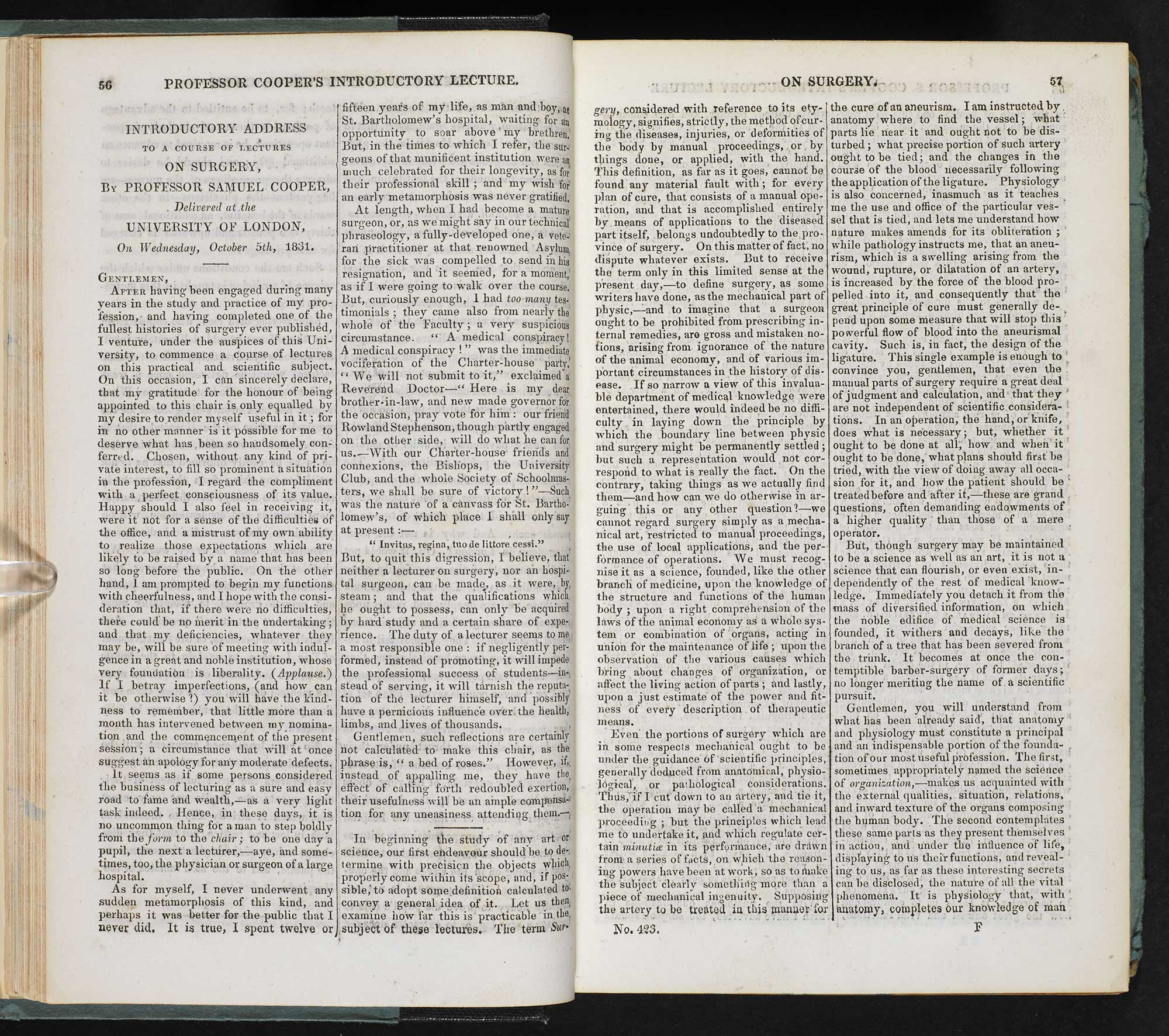 Issues of medical journal The Lancet, 1831-32 [page: 1831-1832 vol 1. pp. 56-57]