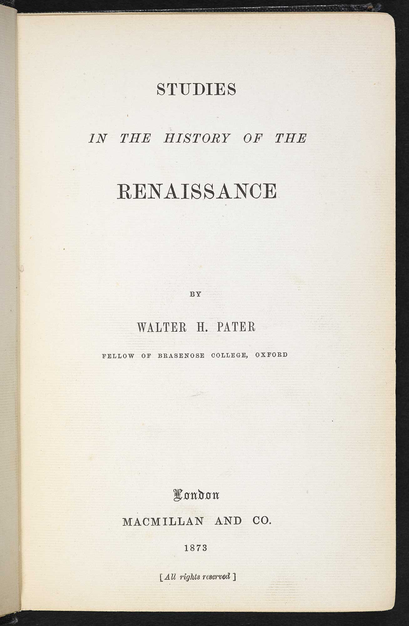 Walter Pater, Studies in the History of the Renaissance