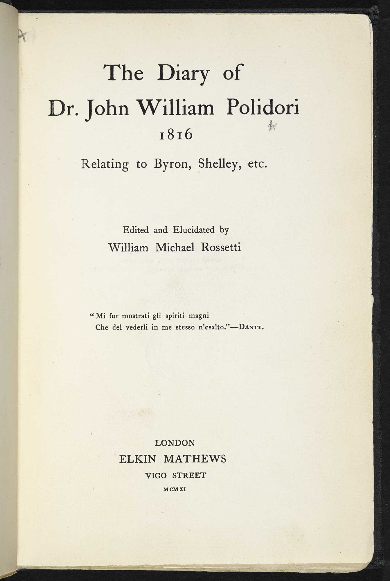 The Diary of Dr. John William Polidori [page: title page]