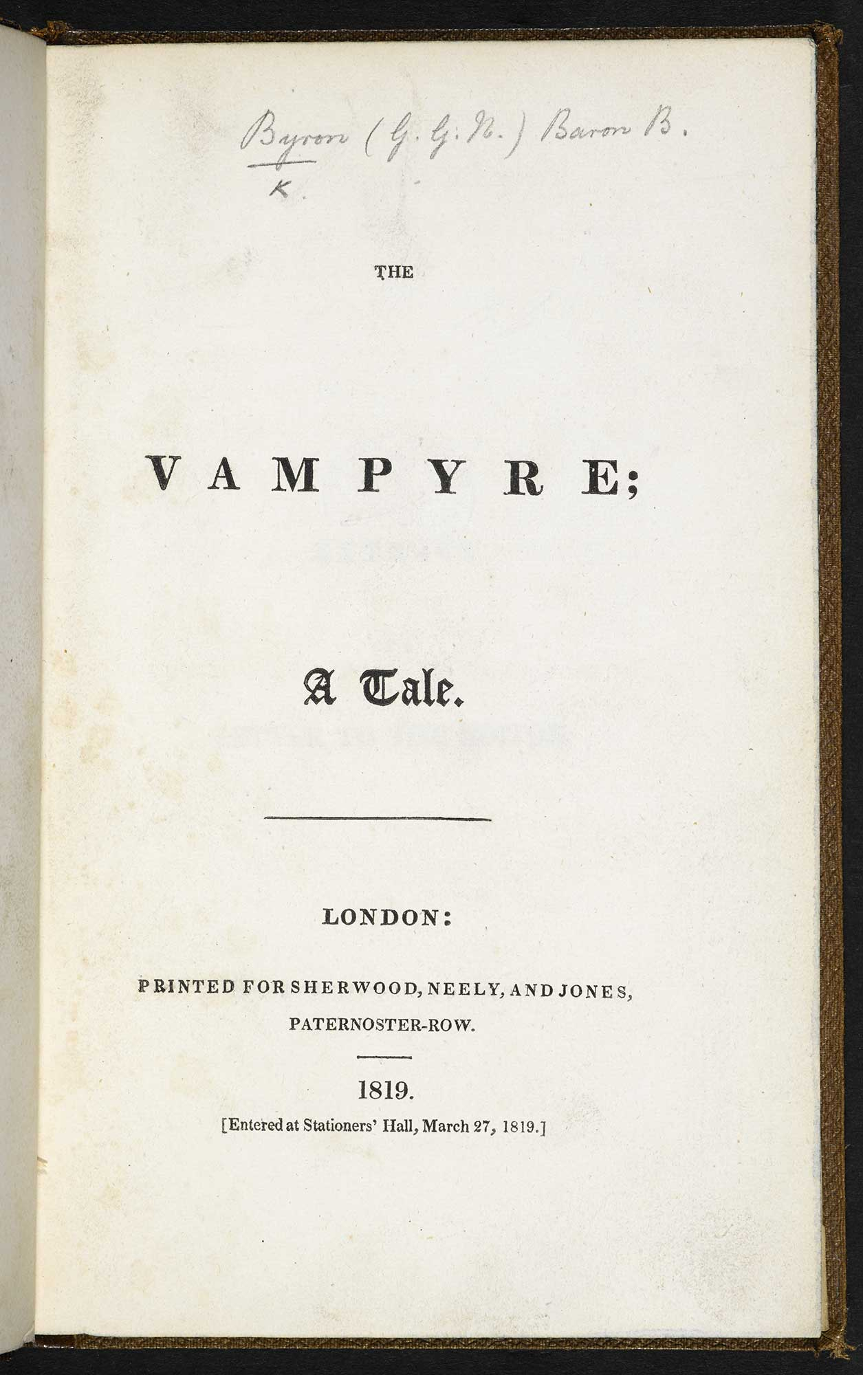The Vampyre by John Polidori [page: title page]