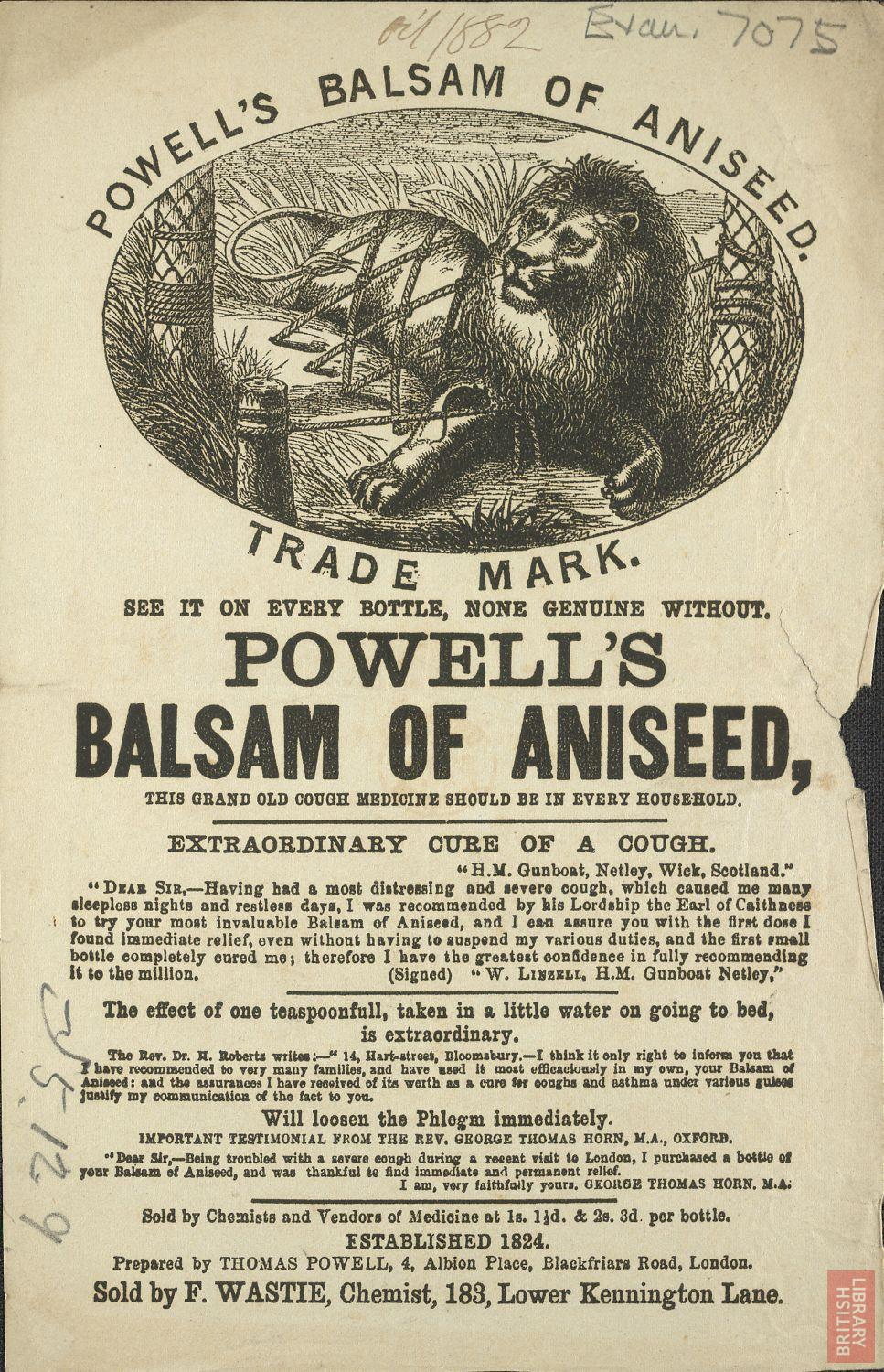 Advertisement for Powell's basalm of aniseed
