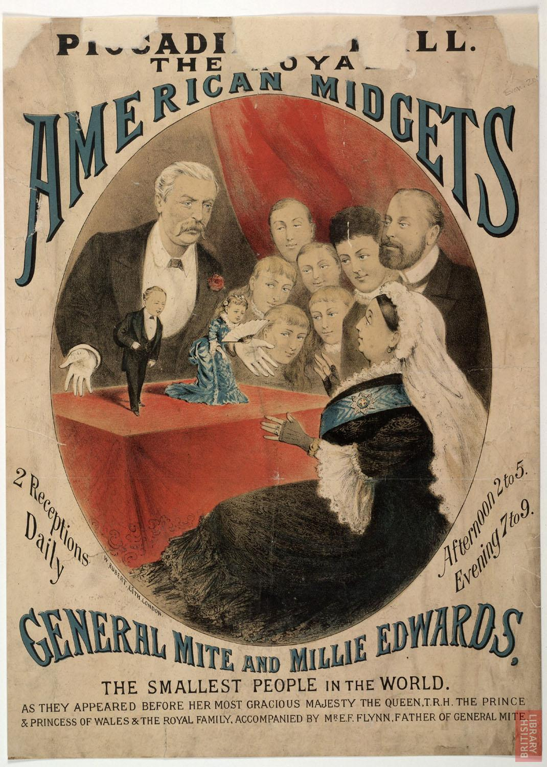 Poster advertising the 'royal American midgets', Piccadilly Hall, London