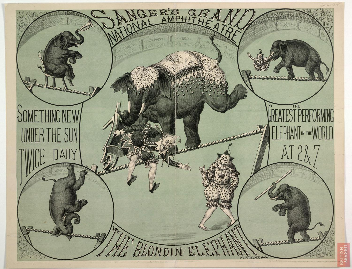 Poster advertising a performing elephant at Sanger's Grand National Amphitheatre, London