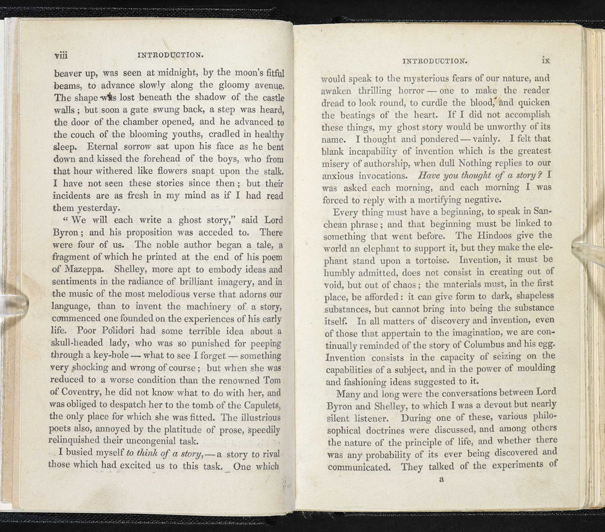 1831 edition of Frankenstein or the Modern Prometheus [page: viii-ix]