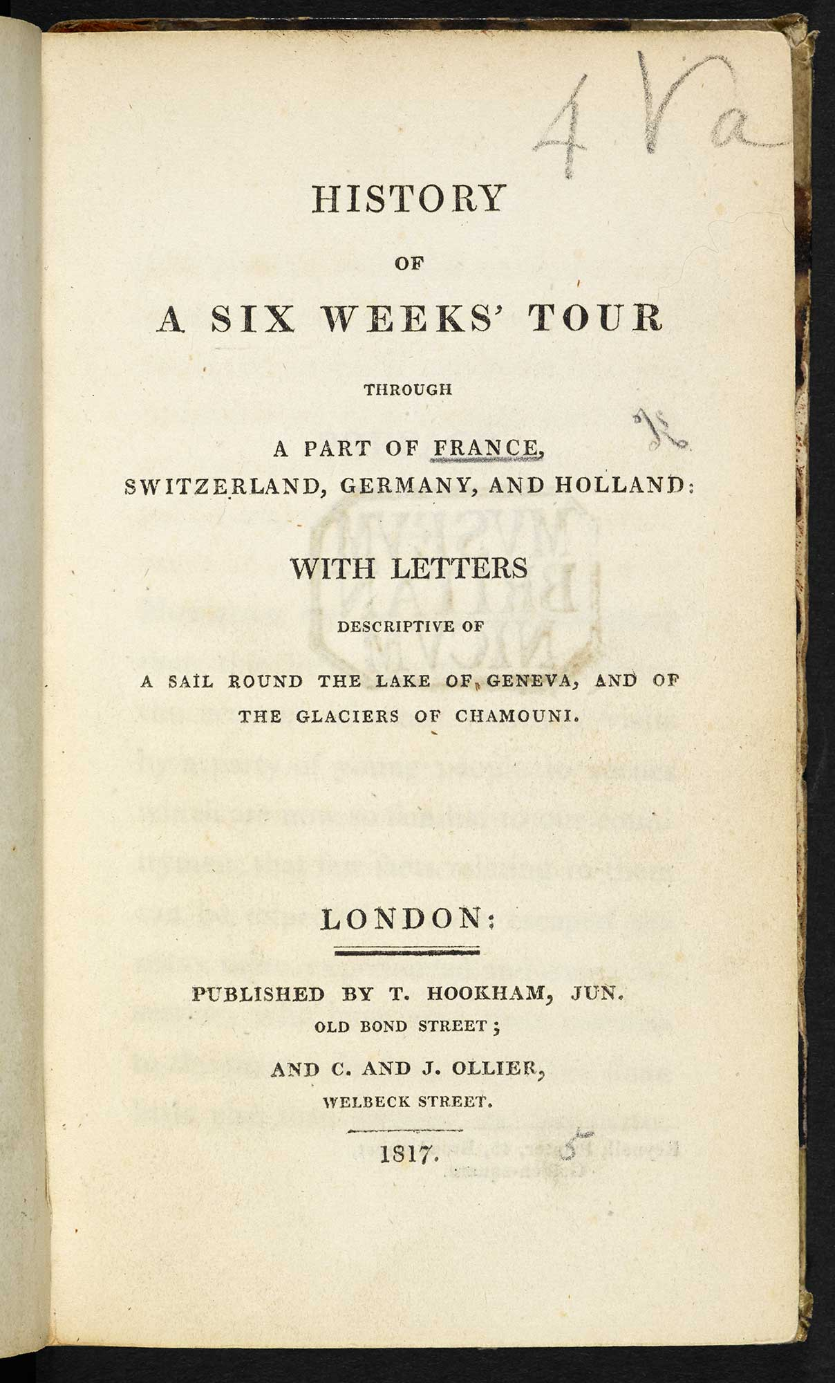 Mary Shelley's History of a six weeks' tour  [page: title page]