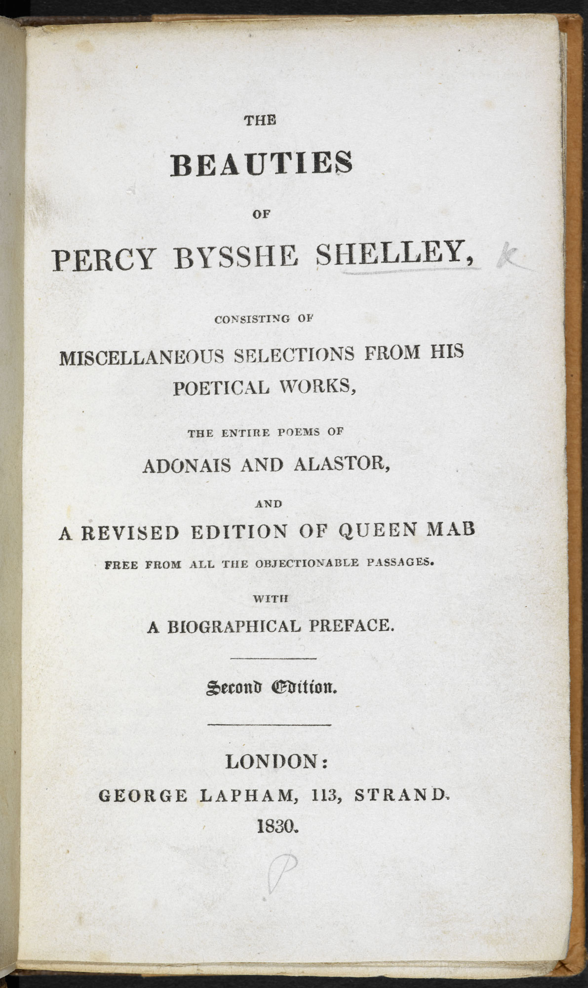 1830 edition of 'Queen Mab' by P B Shelley [page: title page]