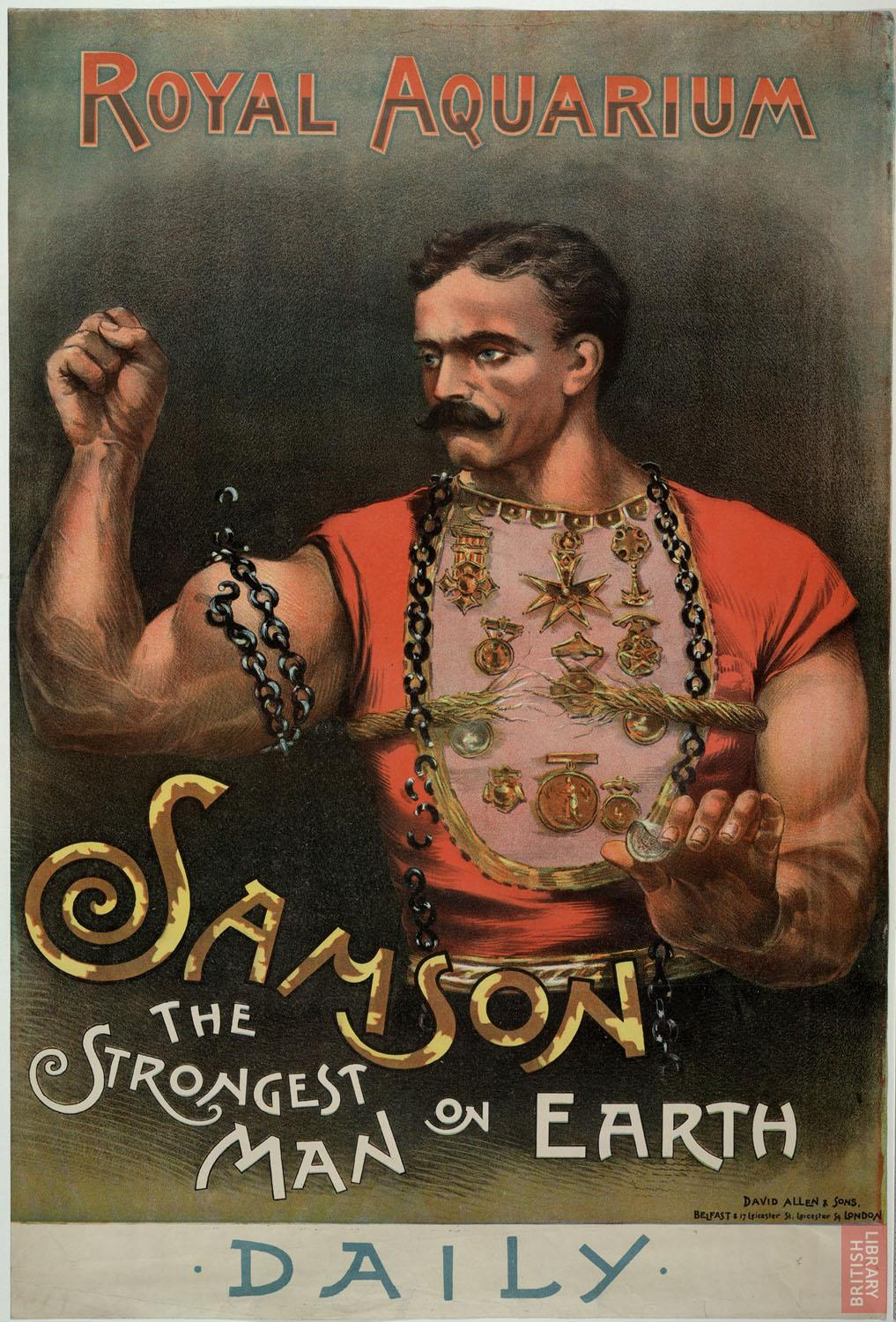 Poster advertising the strongest man on earth, at the Royal Aquarium