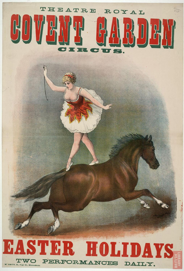 Poster advertising the circus at Theatre Royal, Covent Garden, London