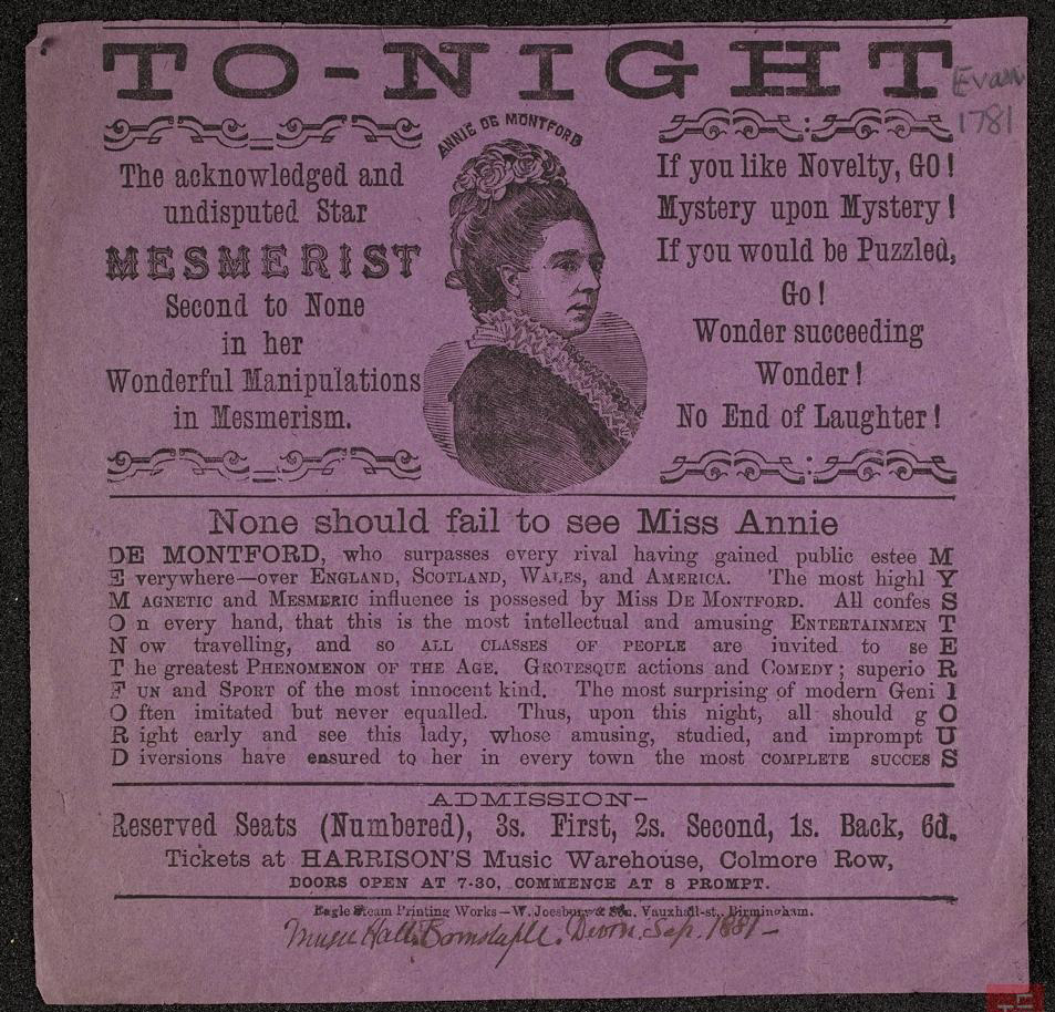 Poster advertising the mesmerist Miss Annie De Montford at the Music Hall, Barnstaple, Devon