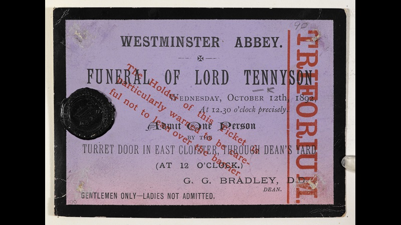 Memorial ephemera from Alfred Lord Tennyson's funeral [page: single sheet]
