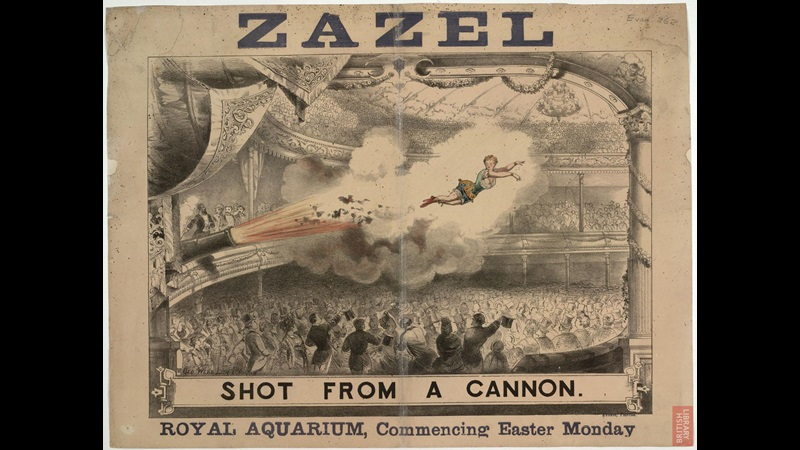 Poster advertising 'Zazel, shot from a cannon' at the Royal Aquarium, London