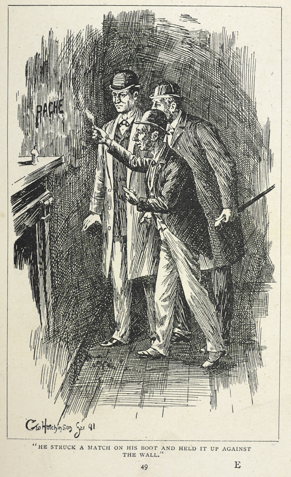 """He struck a match on his boot and held it up against the wall."" Illustration for the first story featuring the fictional detectives, Sherlock Holmes and Dr. Watson."