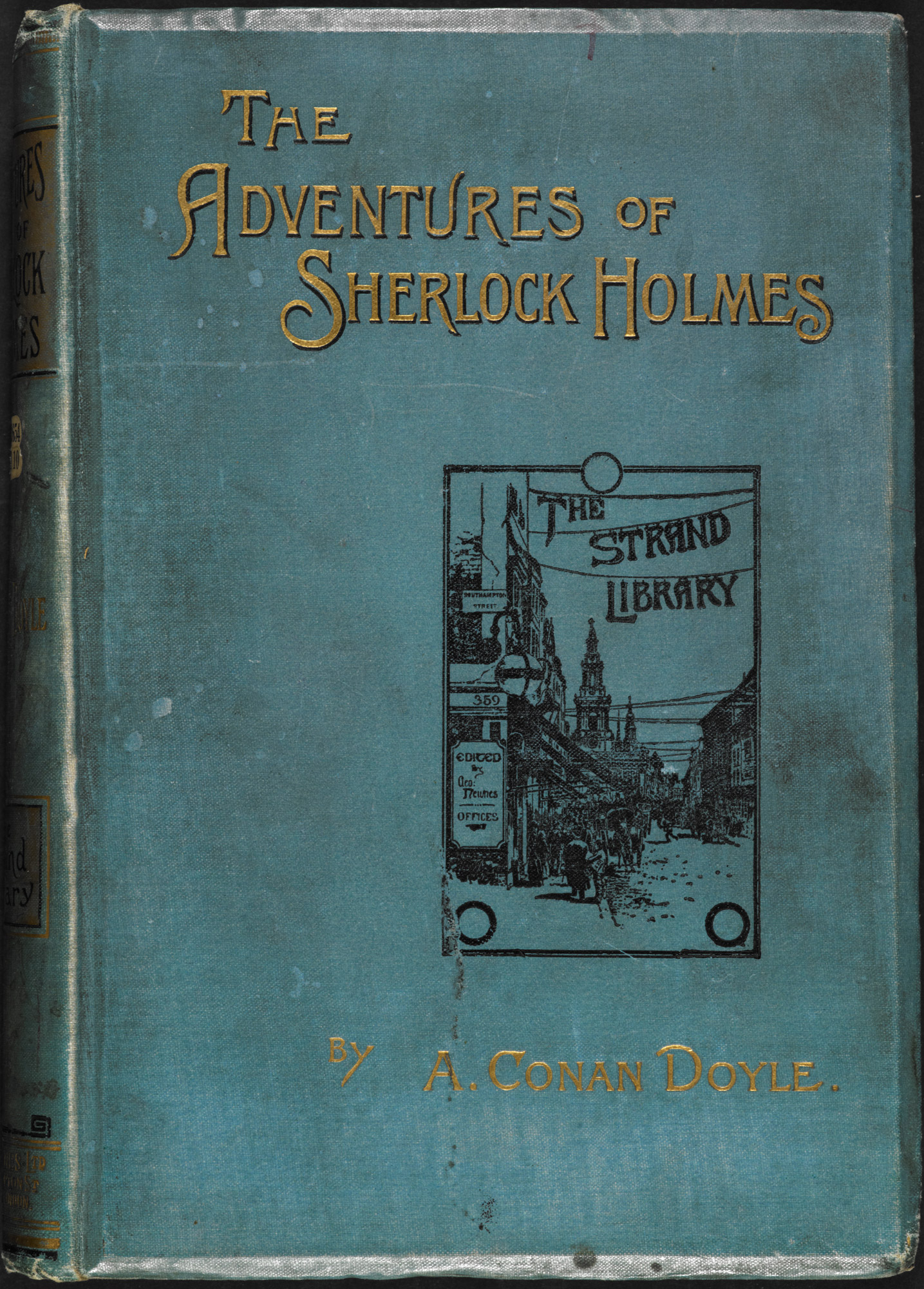 Illustrated front cover for the Adventures of Sherlock Holmes