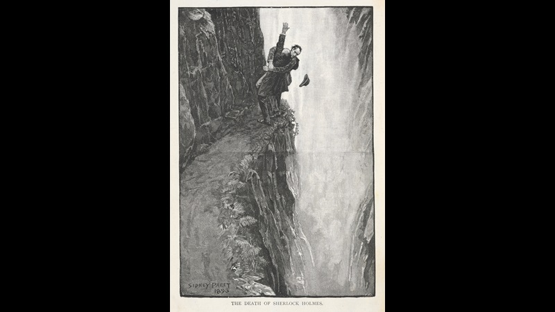 'The death of Sherlock Holmes.' Sherlock Holmes fighting with Professor Moriarty at the Reichenbach Falls in May 1891, where he supposedly fell to his death. ' Illustration for the story, 'the final problem'.