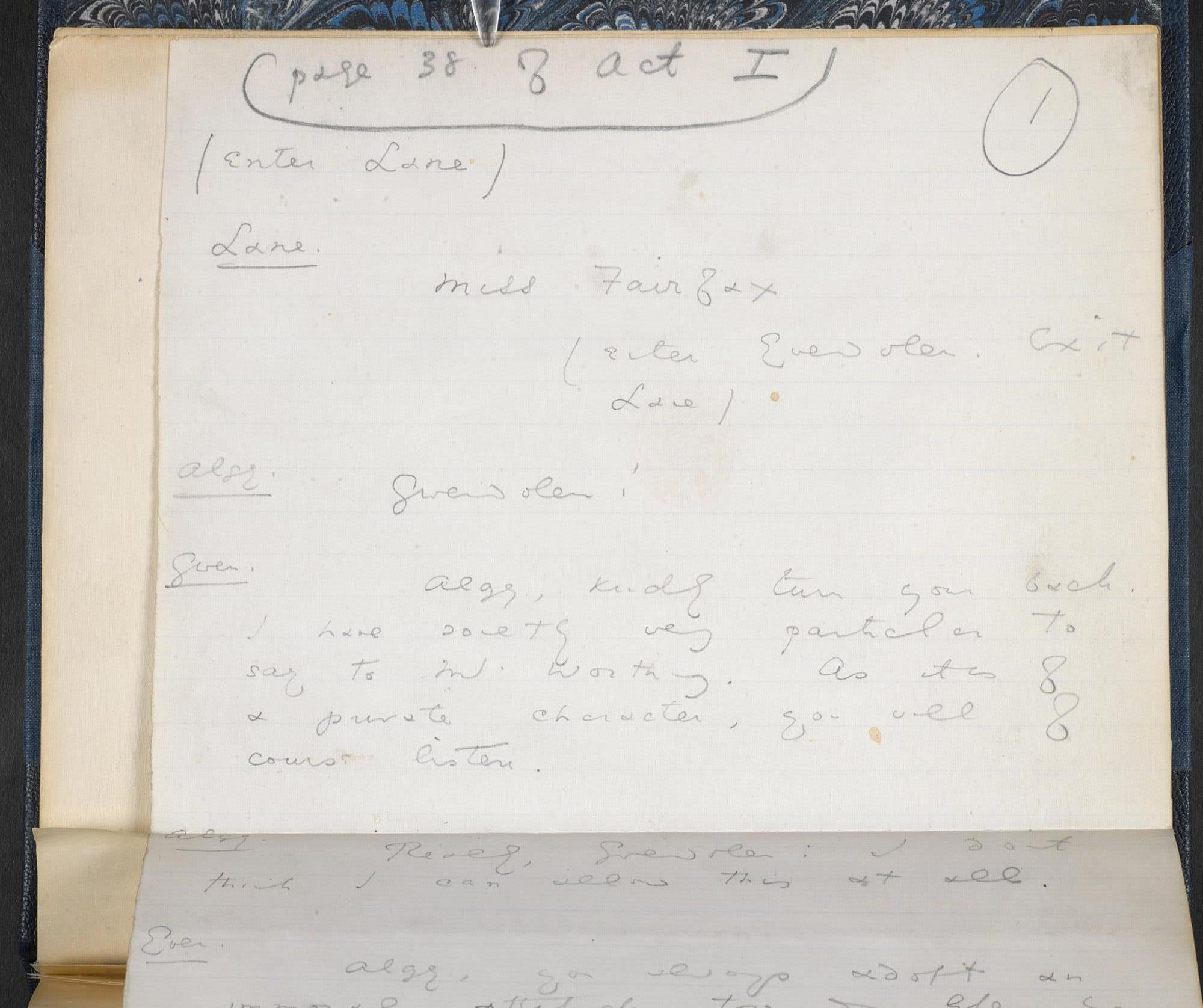 Manuscript draft of The Importance of Being Earnest by Oscar Wilde