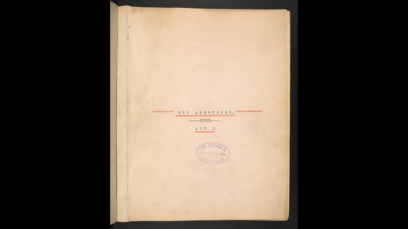 Typescript of Oscar Wilde's A Woman of No Importance, titled Mrs Arbuthnot
