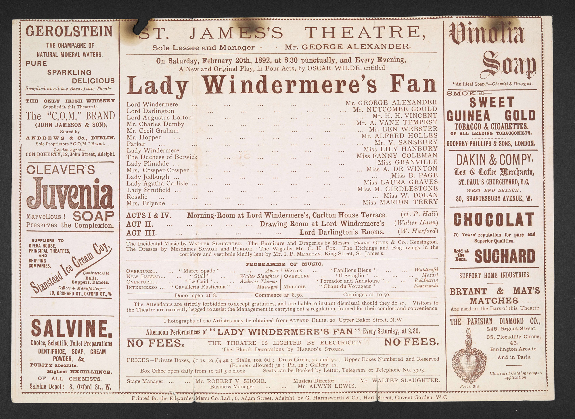 Theatre prgrammes for Oscar Wilde productions