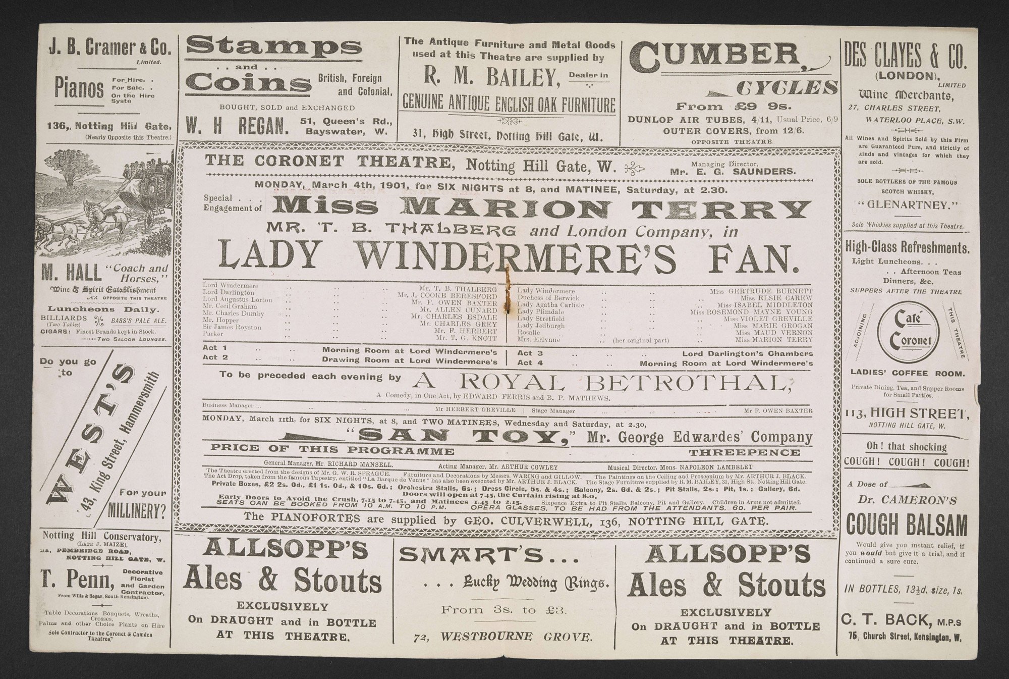 Programme for Lady Windermere's Fan at the Coronet Theatre