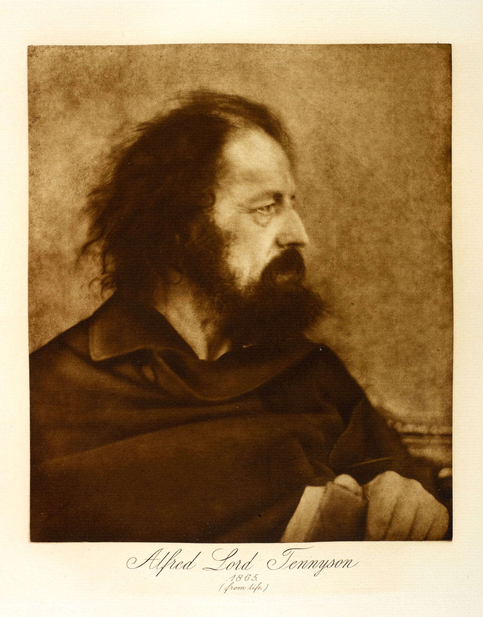 Photograph of Alfred Lord Tennyson, Poet Laureate for 42 years and author of 'The Charge of the Light Brigade', In Memoriam A.H.H and 'The Lady of Shalott'.