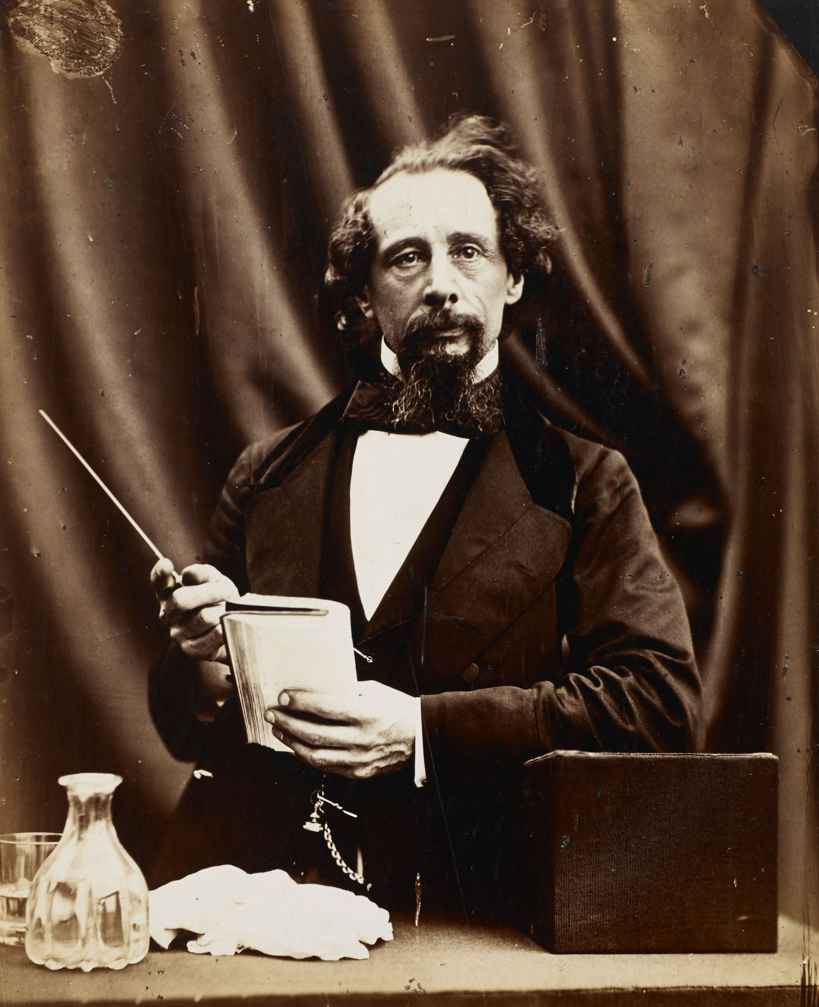 Photograph of Victorian novelist Charles Dickens, author of over 15 novels including Oliver Twist, Great Expectations and A Christmas Carol.
