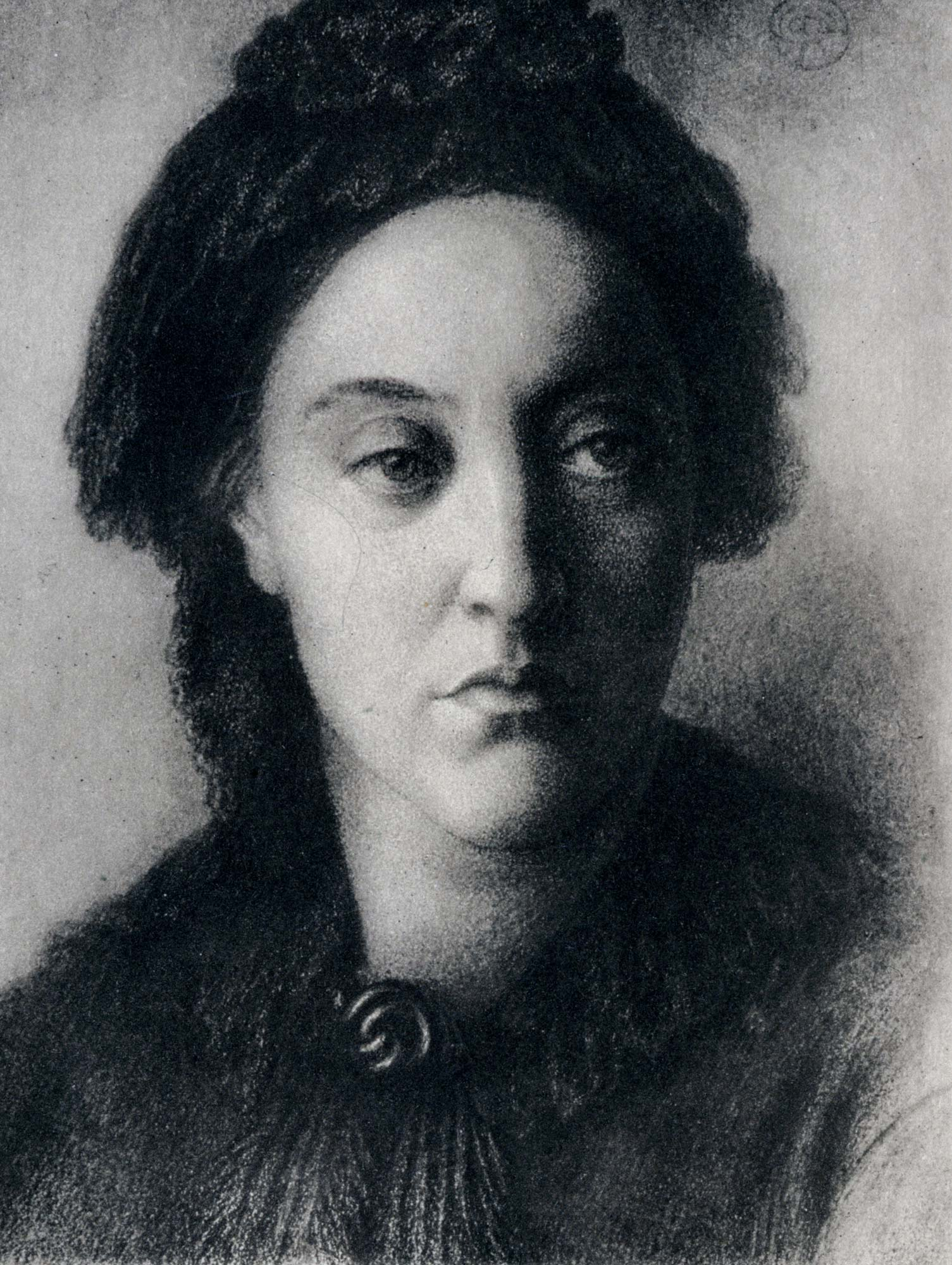 Christina Rossetti, author of 'Goblin Market', 'In The Bleak Midwinter' and 'Remember'. Drawing by Dante Rossetti.