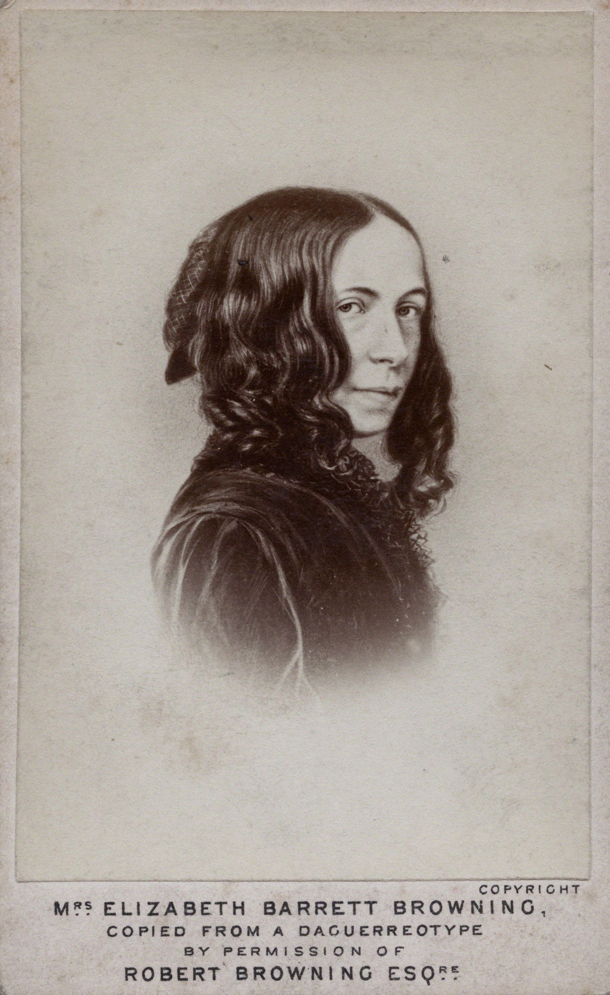 Elizabeth Barrett Browning, author of Sonnets from the Portuguese and Aurora Leigh. Portrait by Elliott & Fry © National Portrait Gallery, London.