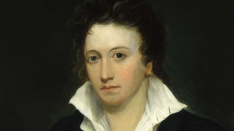 Percy Bysshe Shelley, author of The Masque of Anarchy and Prometheus Unbound. Portrait by Alfred Clint © National Portrait Gallery, London.
