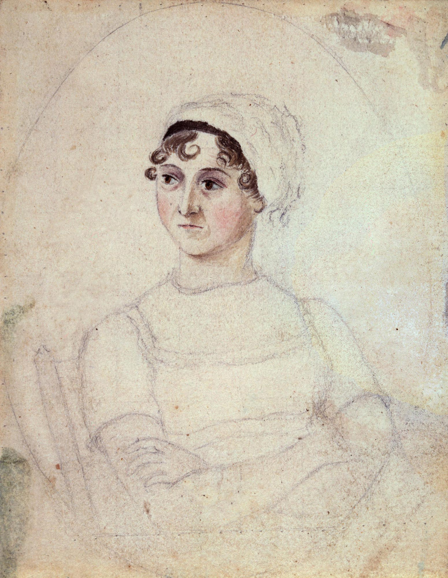 Jane Austen, author of Sense and Sensibility and Pride and Prejudice. Portrait by her sister, Cassandra Austen © National Portrait Gallery, London.