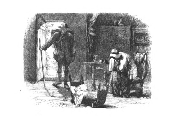 Margaret sits crying, a cradle is on the floor, and a man walks through the cottage door.  From William Wordsworth's The Deserted Cottage, engraved by the Brothers Dalziel, 1859.