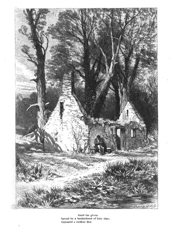 Illustration of a ruined stone cottage with woods in the background and a man sat in front. The frontispiece for William Wordsworth's The Deserted Cottage, engraved by the Brothers Dalziel, 1859.