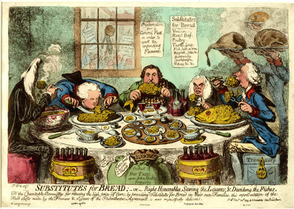 Politicians sit at a round dinner-table guzzling guineas, while through the window is seen a hungry mob. Satirical print 'Substitutes for Bread or, the Right Honourables Saving the Loaves and Dividing the Fishes' by James Gillray.