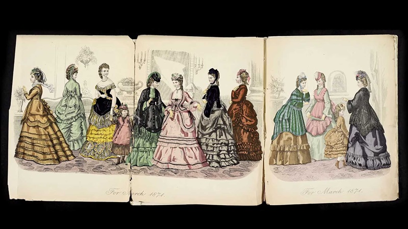 Set of illustrations of middle or upper class Victorian women in crinoline skirts, hats and with coiffeured hair