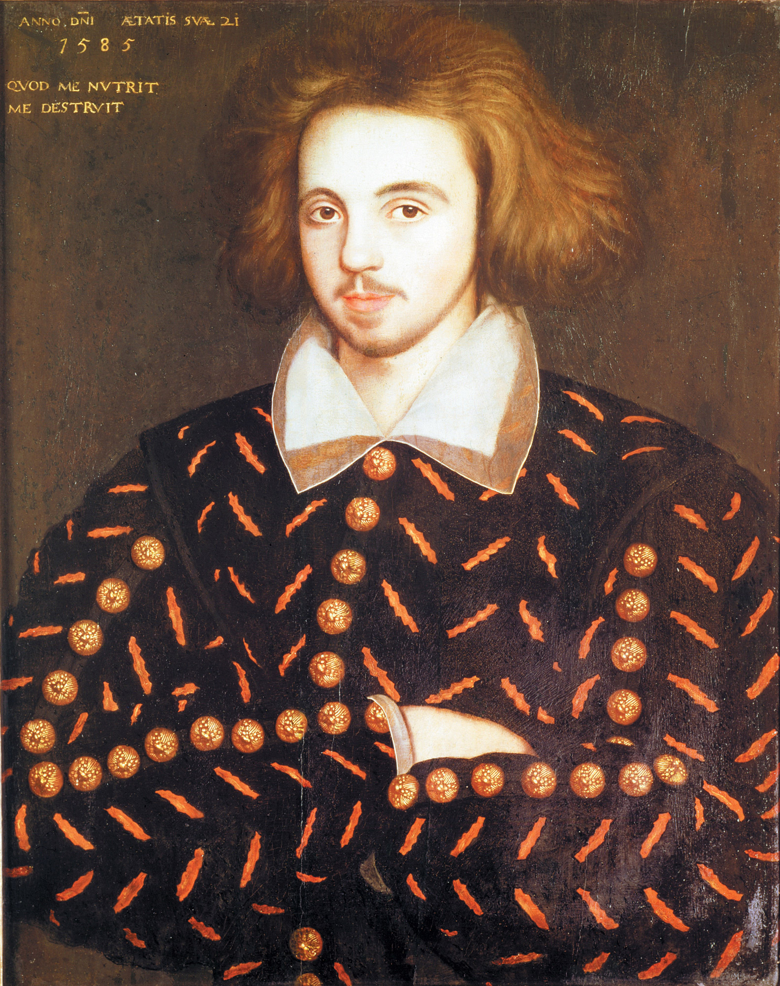 Painting of a young man, perhaps Christopher Marlowe, 1585