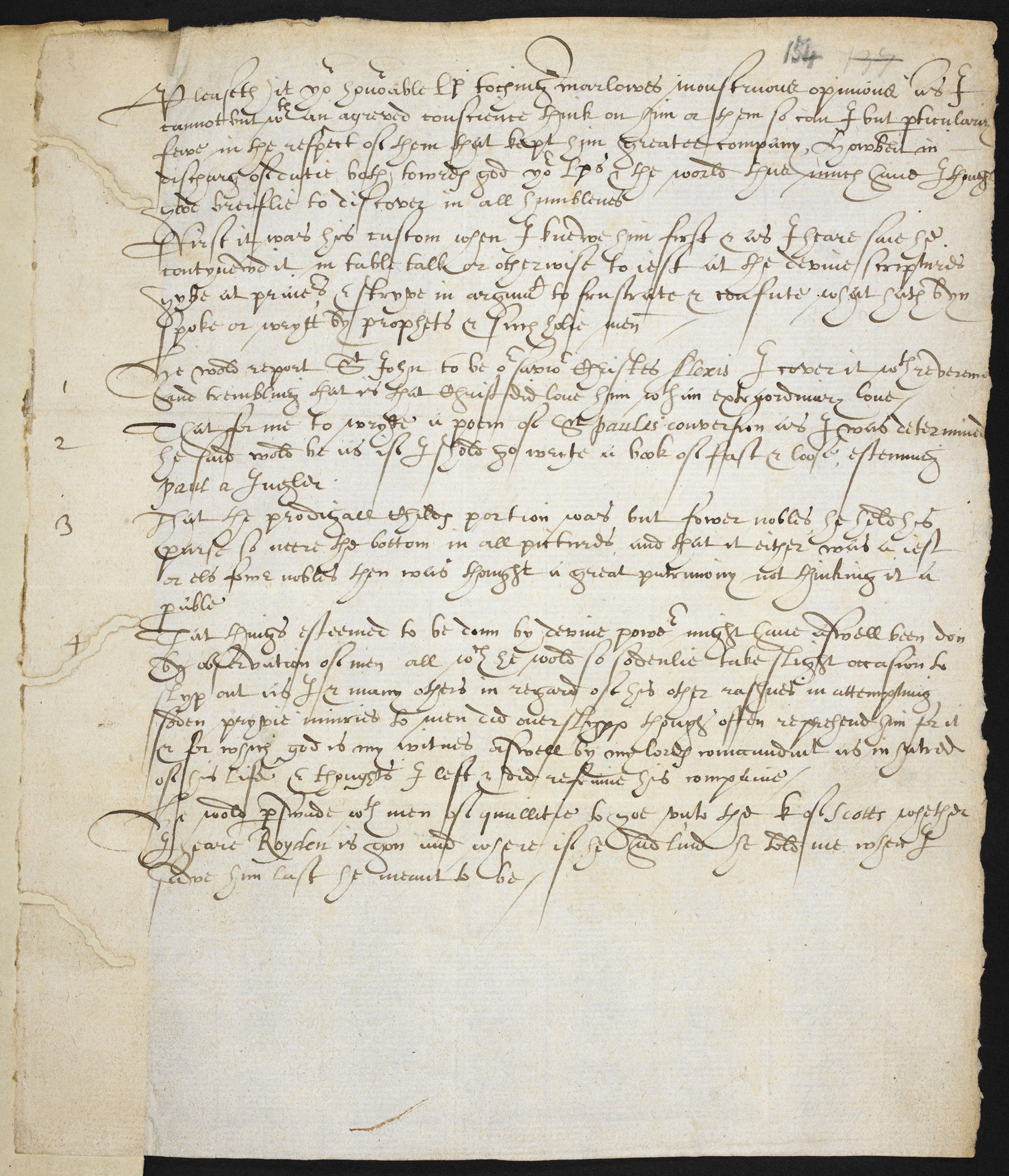 Accusations against Christopher Marlowe by Richard Baines and others
