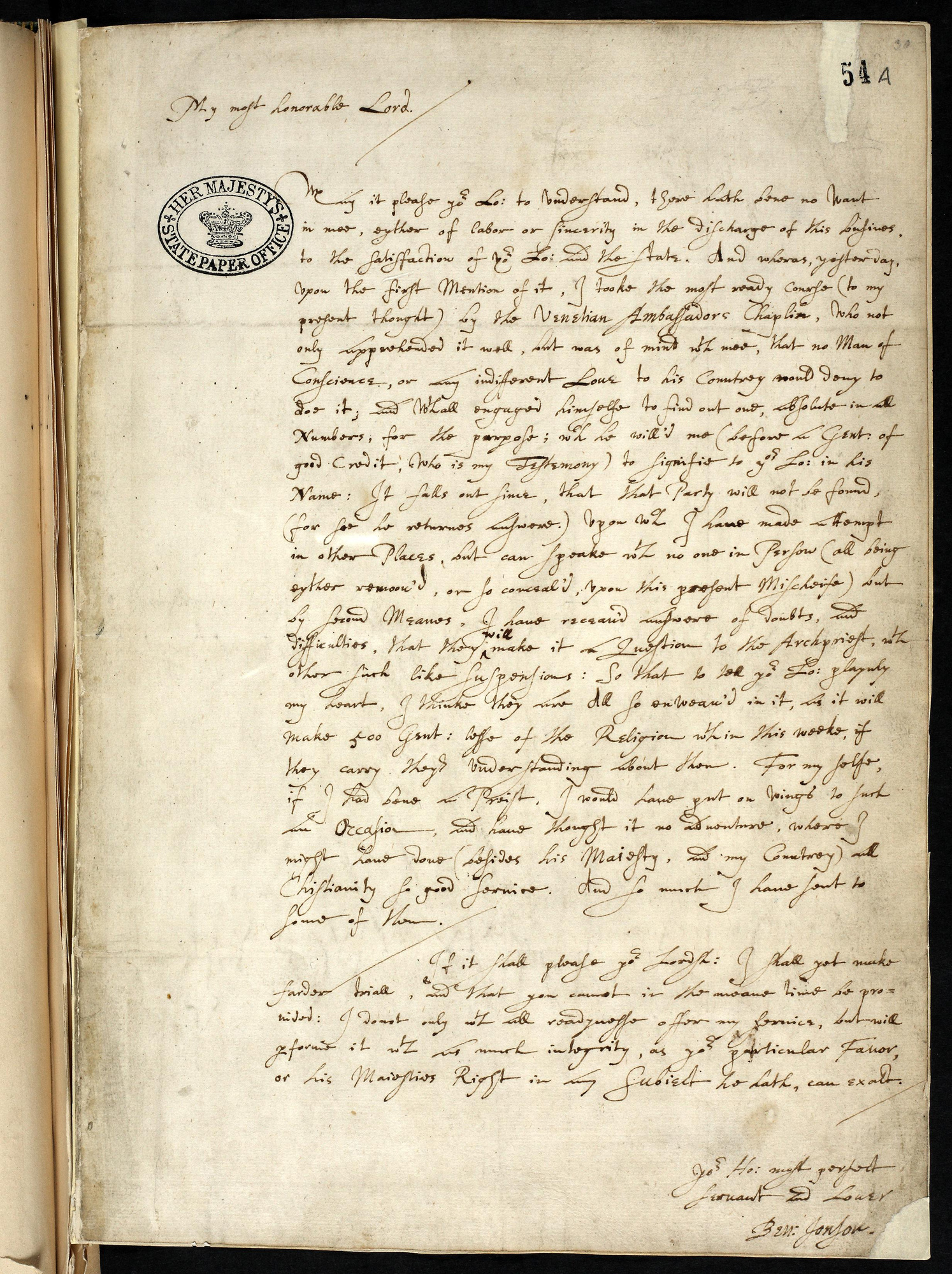 Autograph Letter by Ben Jonson Concerning The Gunpowder Plot