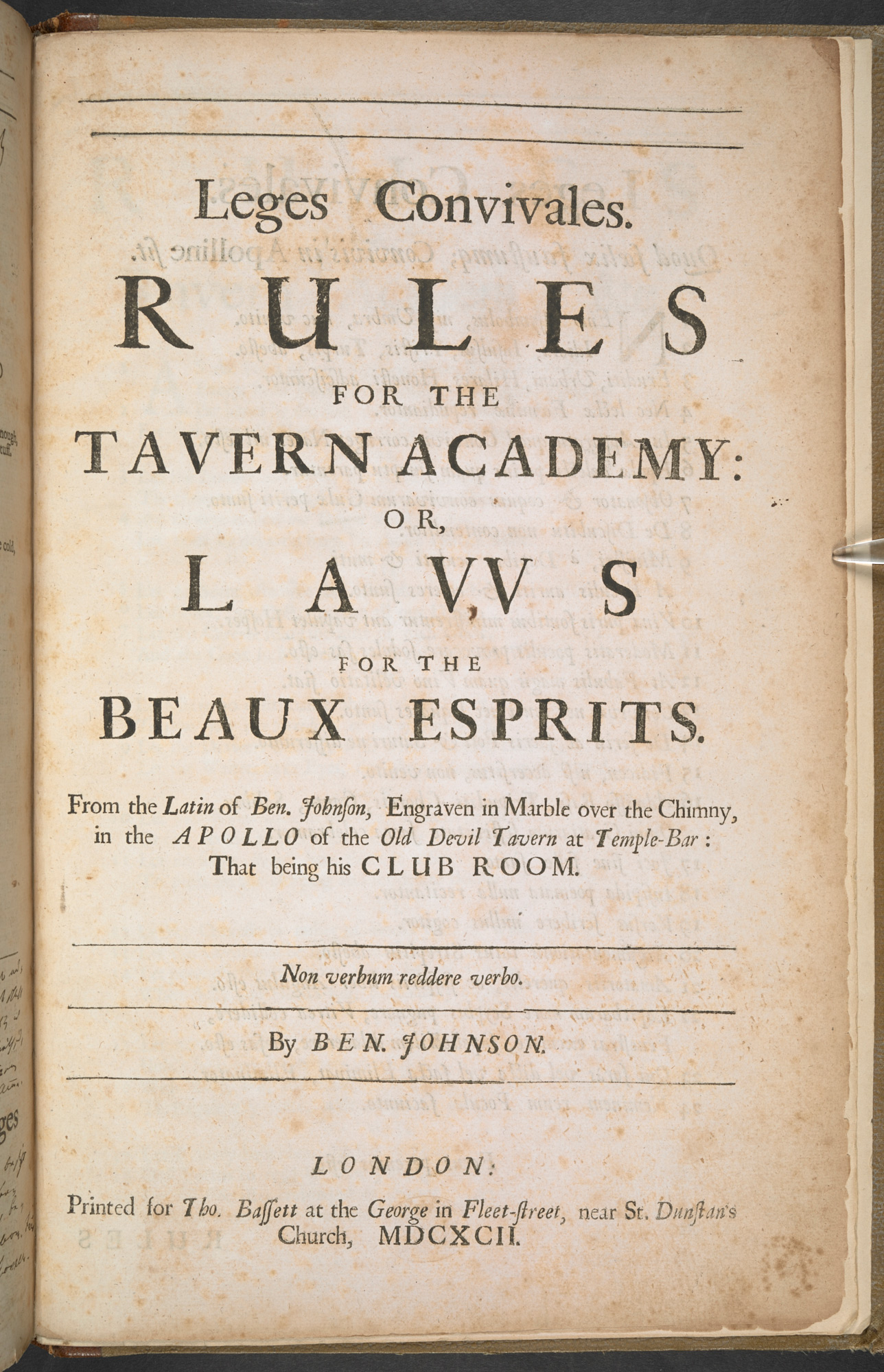 Ben Jonson's Leges Convivales, or Rules for the Tavern Academy