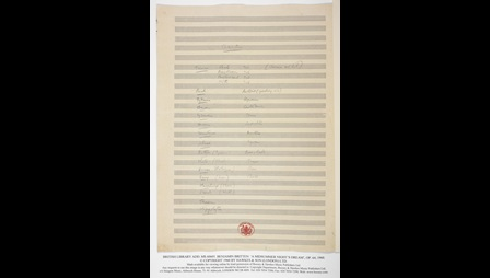 Benjamin Britten's manuscript score for A Midsummer Night's Dream