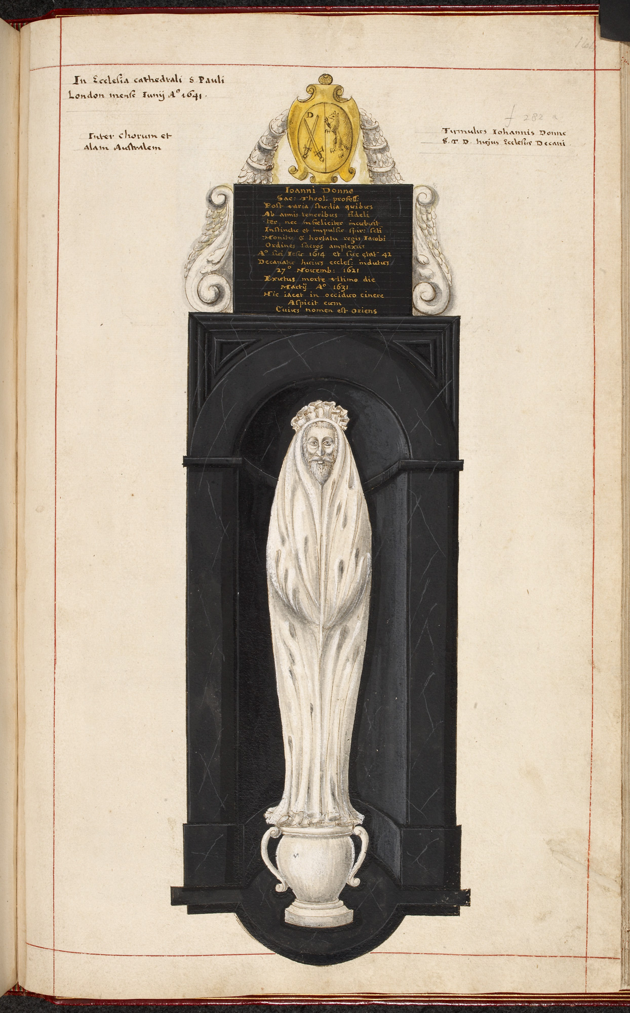 Drawing of the monument to John Donne in St Paul's Cathedral