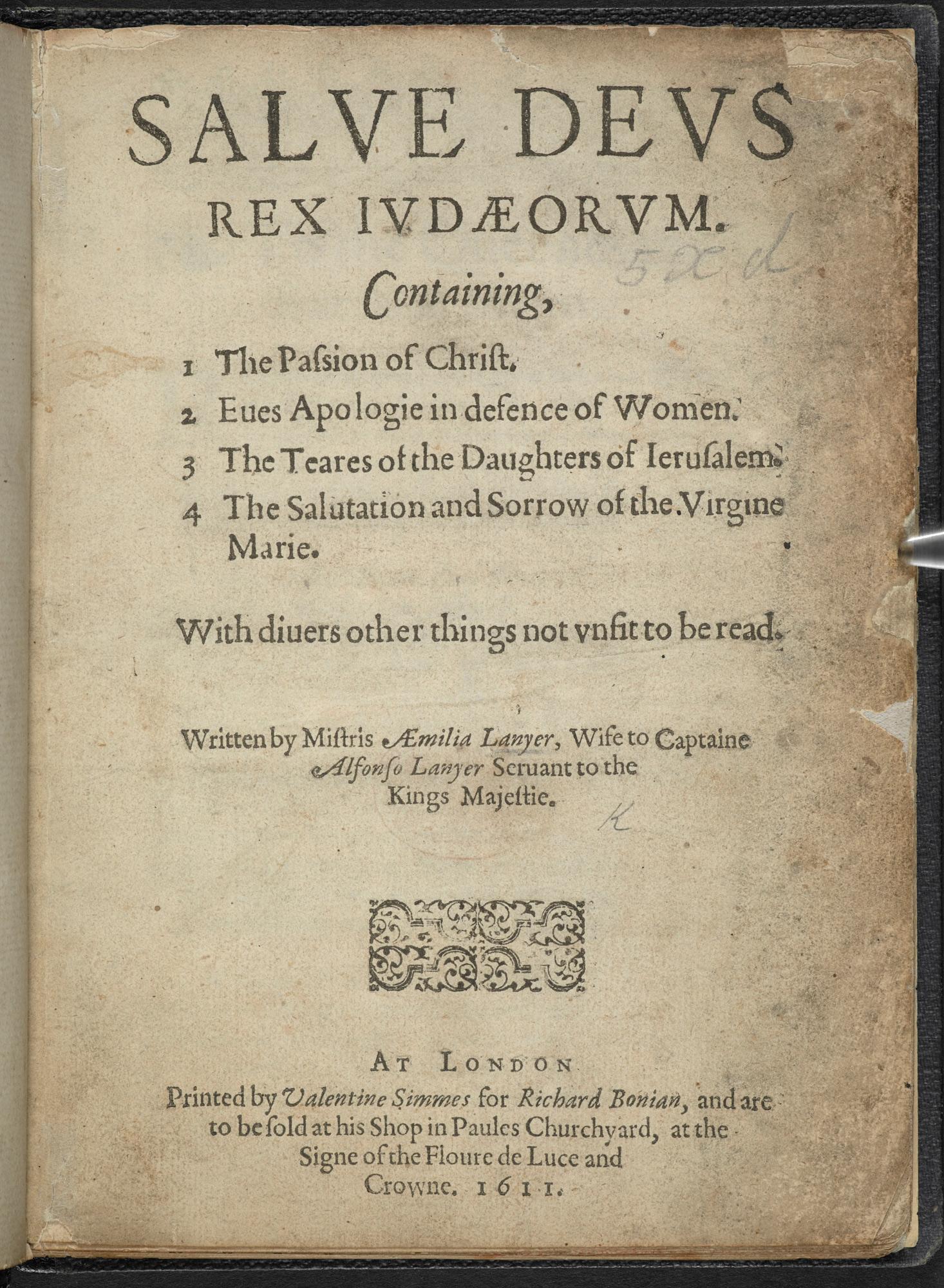 Emilia Lanier's Salve Deus Rex Judaeorum, 1611