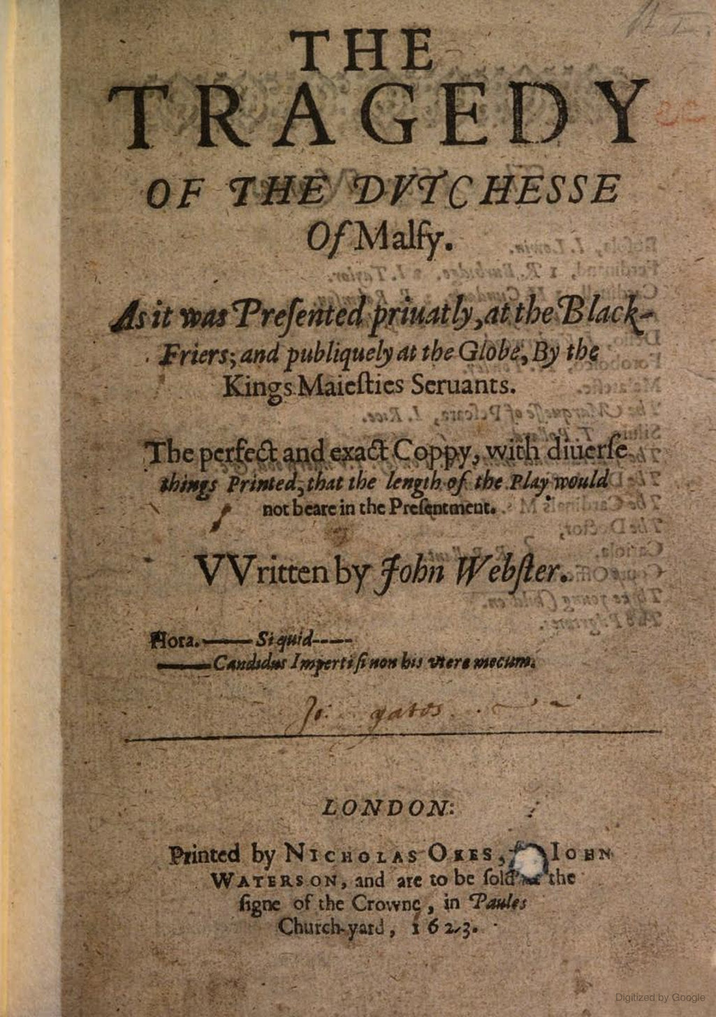 First Edition of John Webster's The Duchess of Malfi, 1623