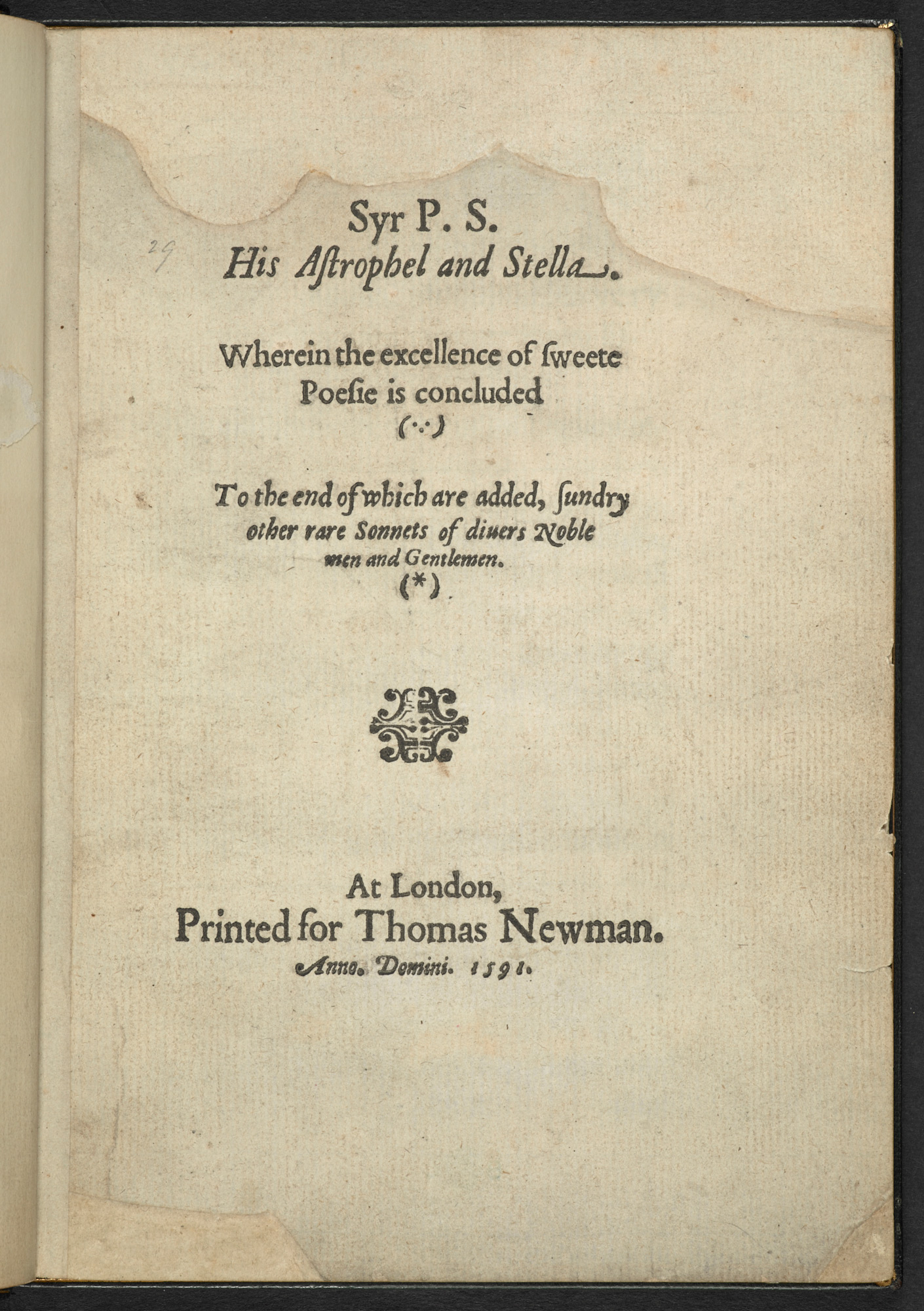 Philip Sidney's Astrophil and Stella, 1591